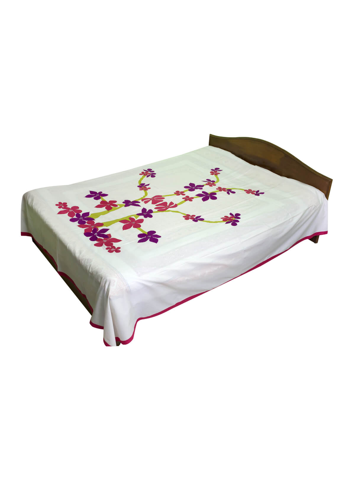 White Cotton Bed Sheet with 2 Pillow Covers