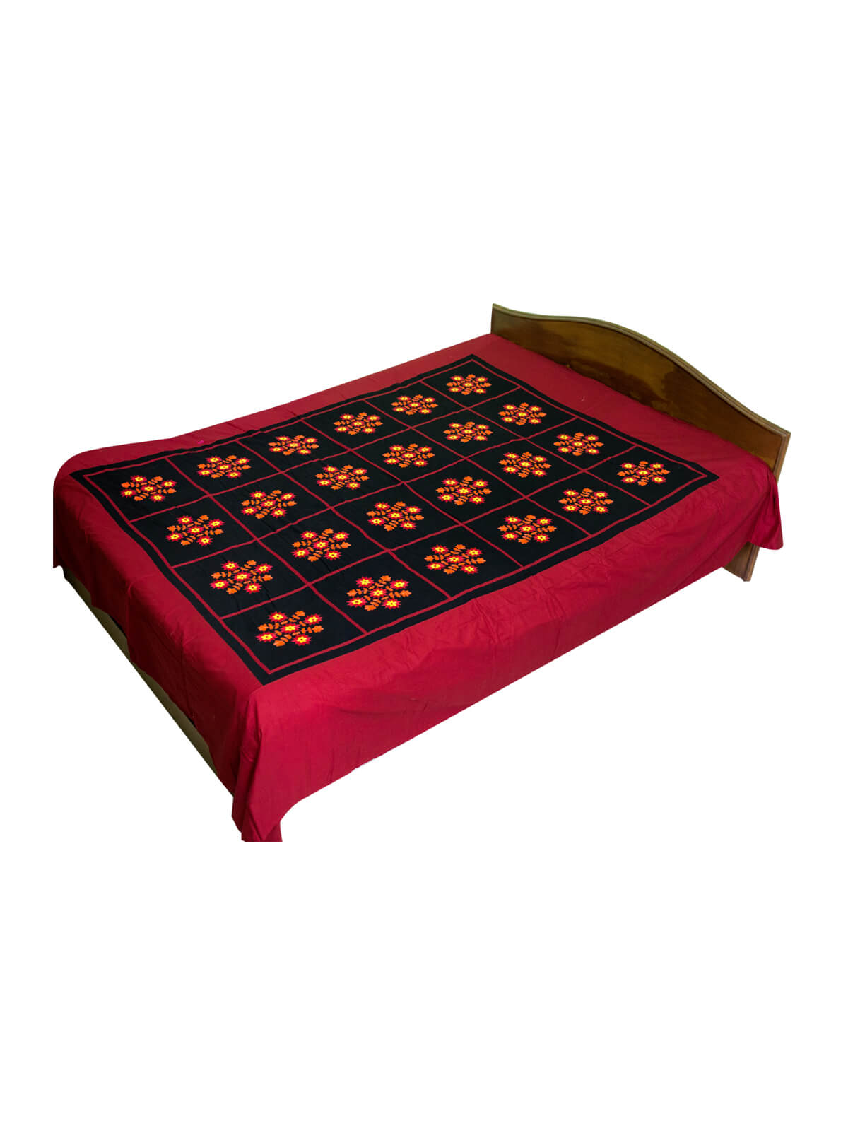 Red & Black Cotton Bed Sheet with 2 Pillow Cover