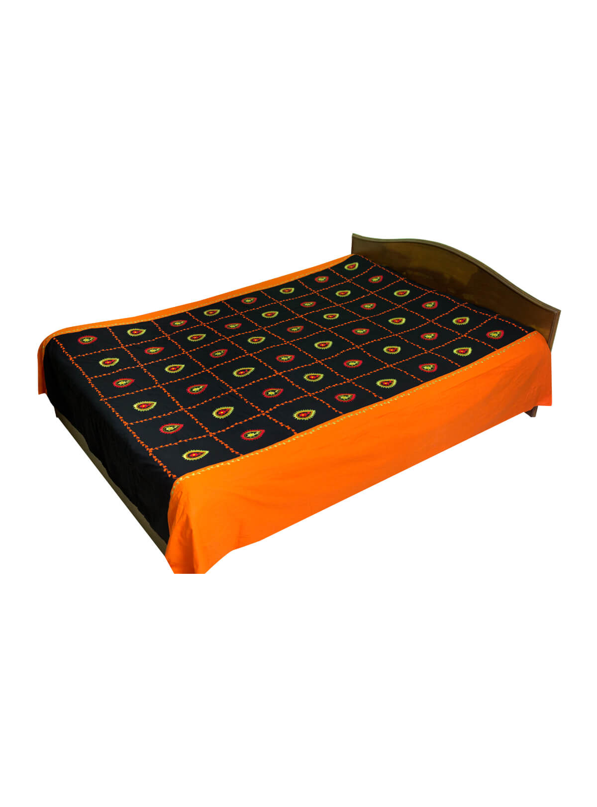 Black & Orange Cotton Bed Sheet with 2 Pillow Cover