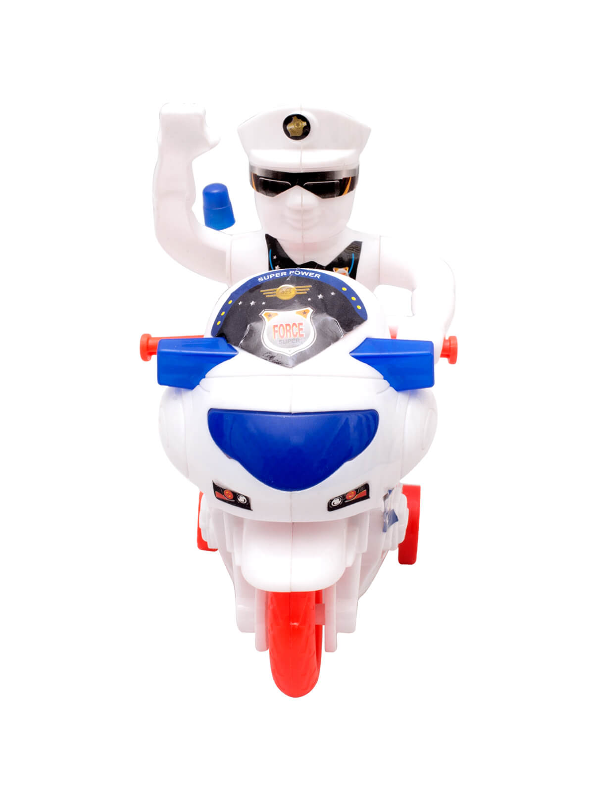White, Red and Blue Toy Music Police Honda