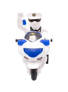Blue and White Toy Police Honda