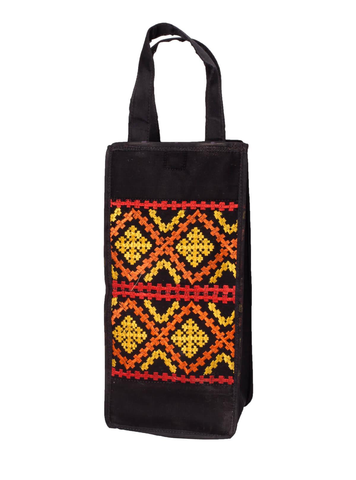 Black & Red Cotton Bottle Bag