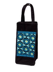 Black Cotton Embroidered Bottle Bag