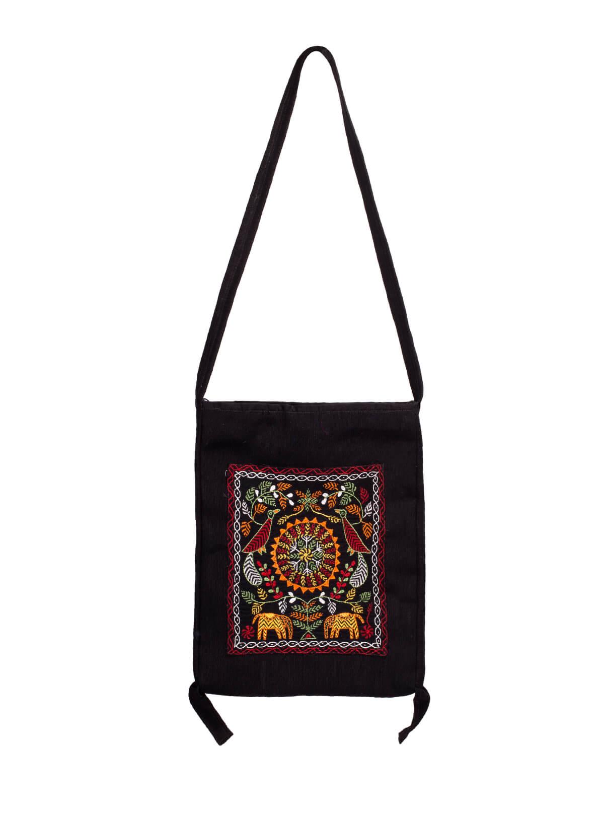 Black Embroidered Kobi Bag