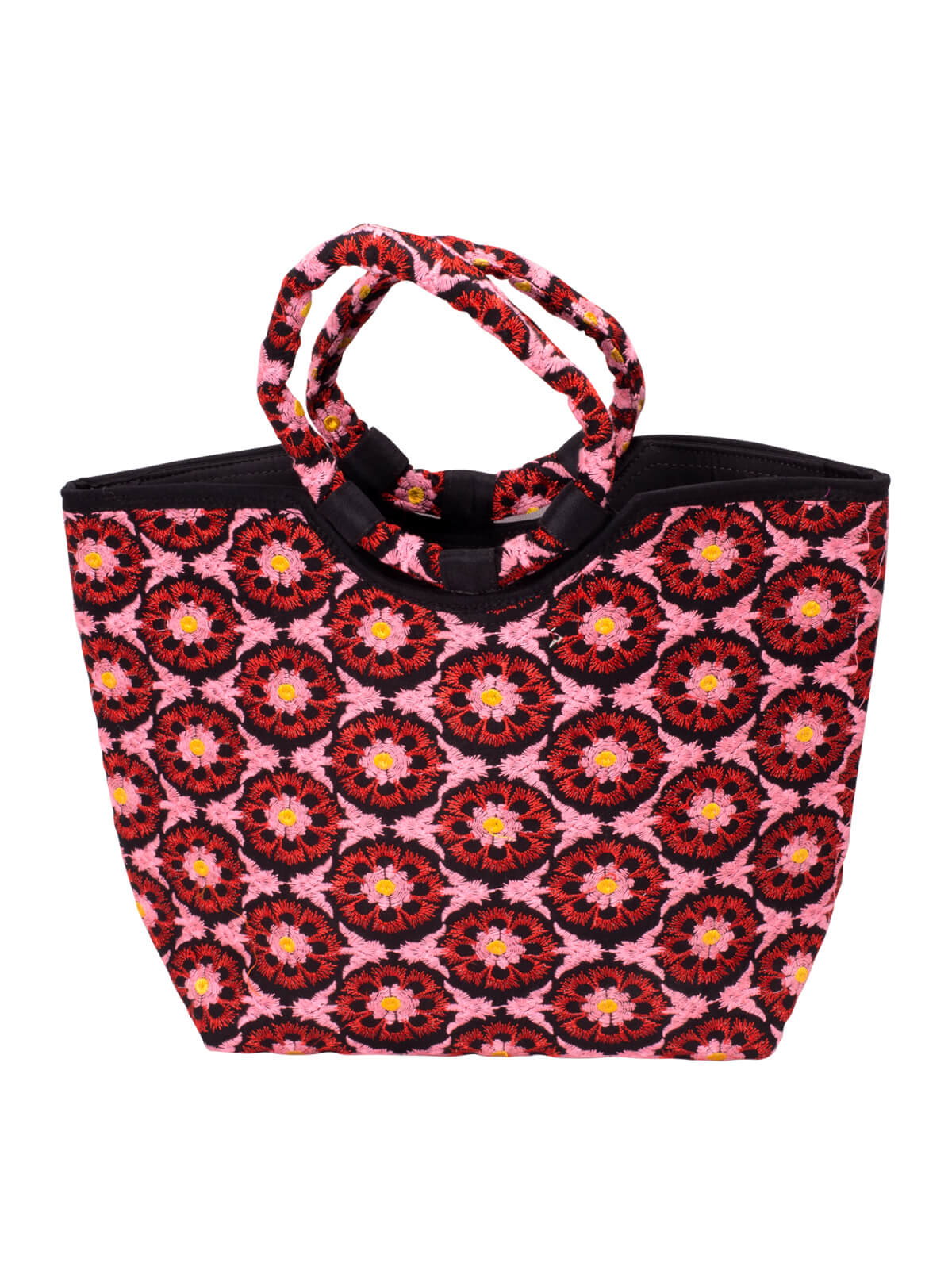 Pink Cotton Embroidered Ladies Bag