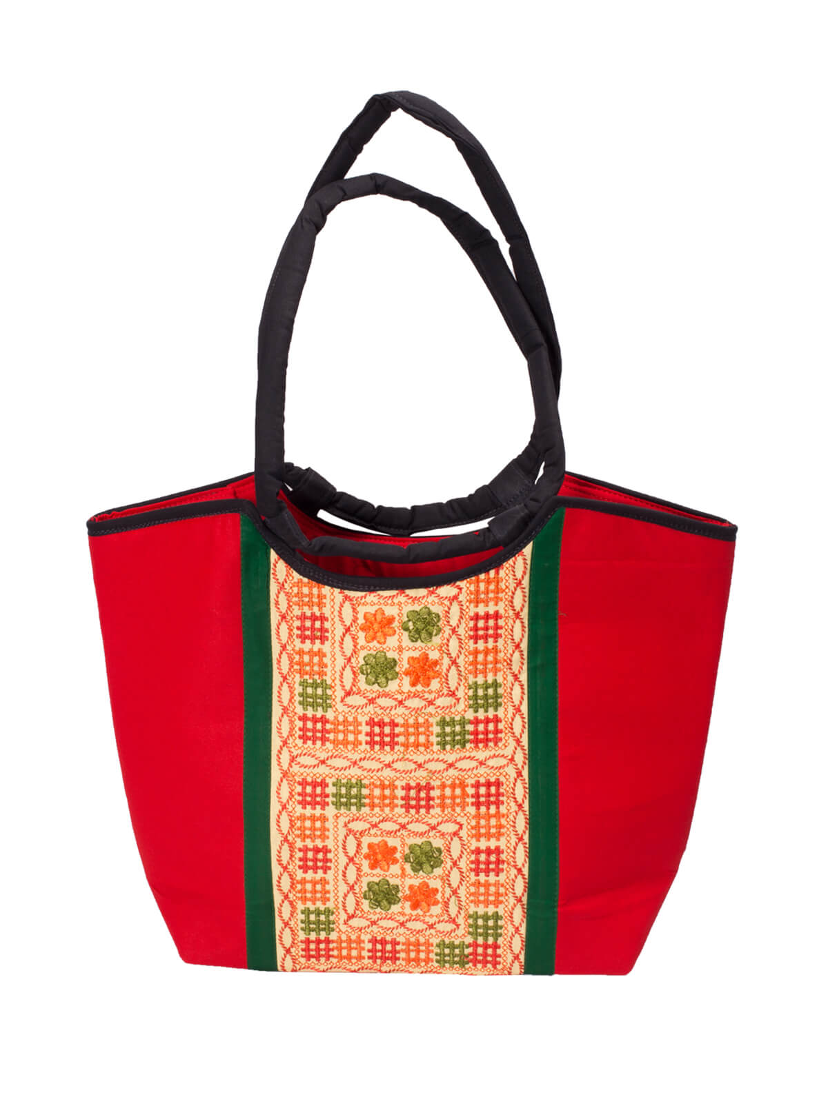 Red Cotton Embroidered Ladies Bag