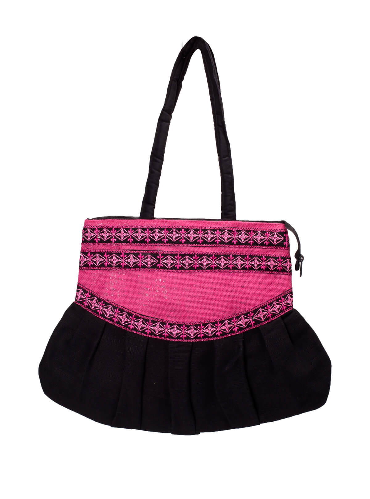 Black & Pink Cotton Embroidered Ladies Bag