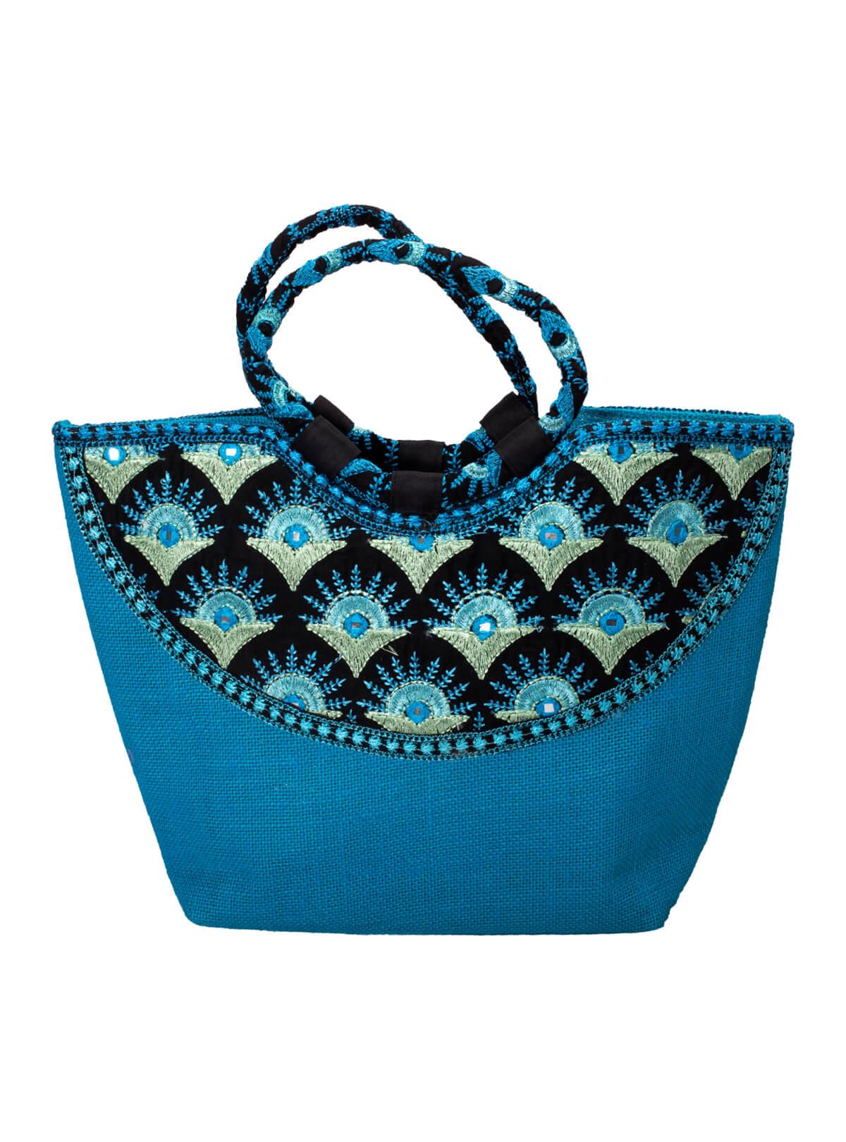 Blue Jute Embroidered Ladies Bag