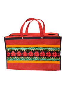 Red Jute Embroidered Carry Bag