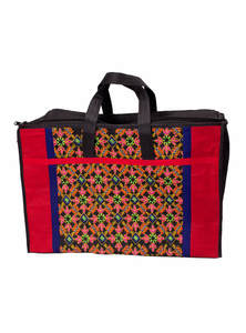 Red & Black Cotton Embroidered Carry Bag