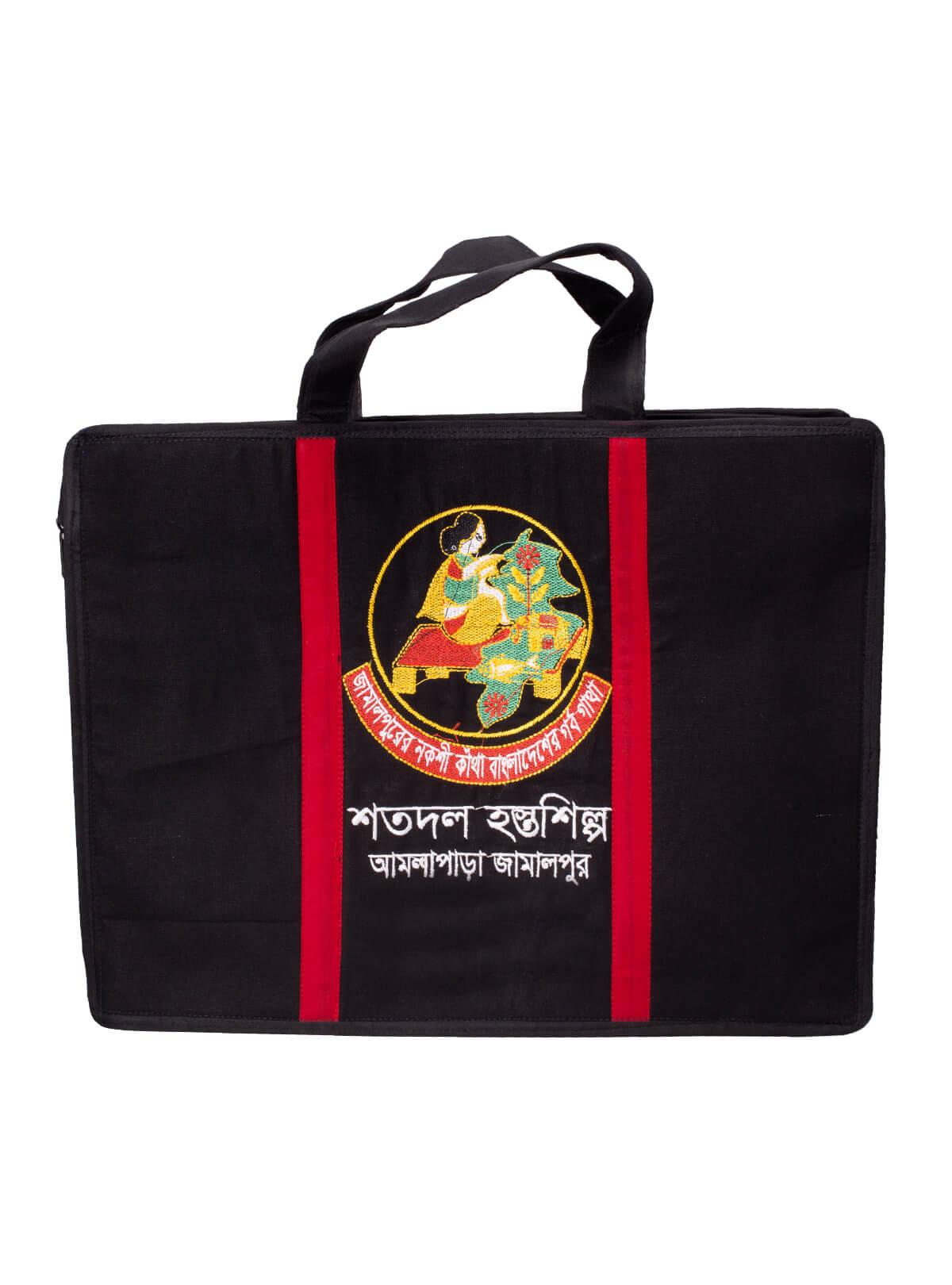 Black Cotton Embroidered Laptop Bag