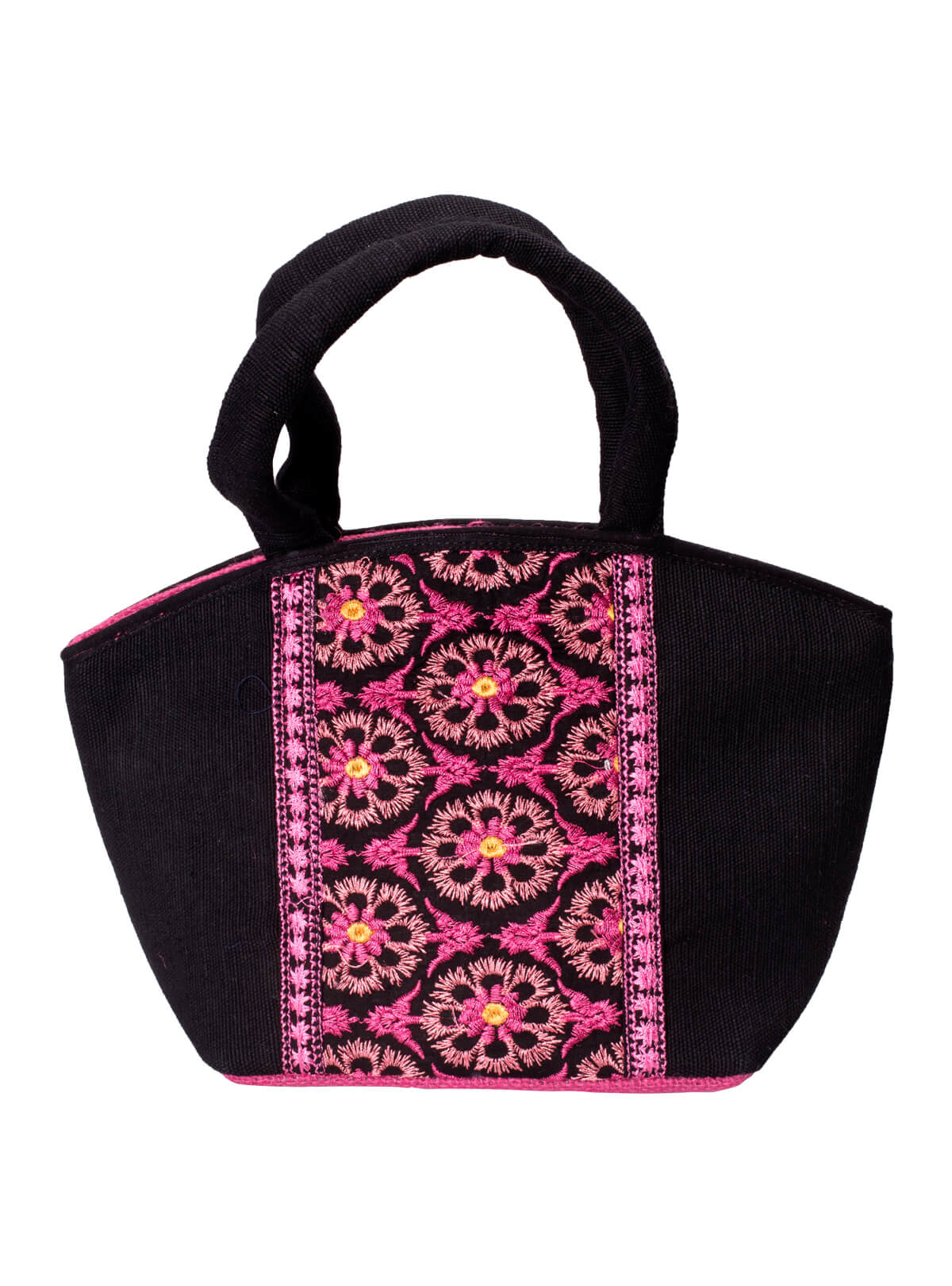 Black & Pink Jute Embroidered Ladies Tunny Bag