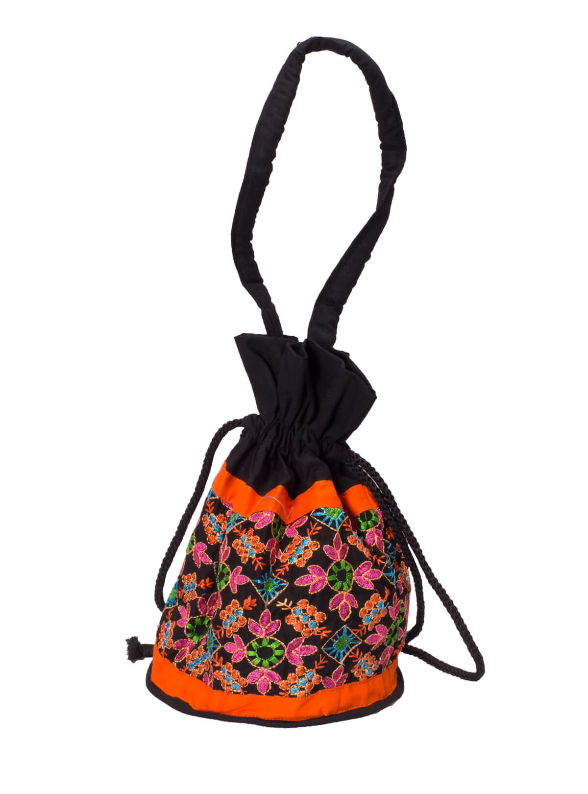 Black & Orange Cotton Ladies Batua Bag