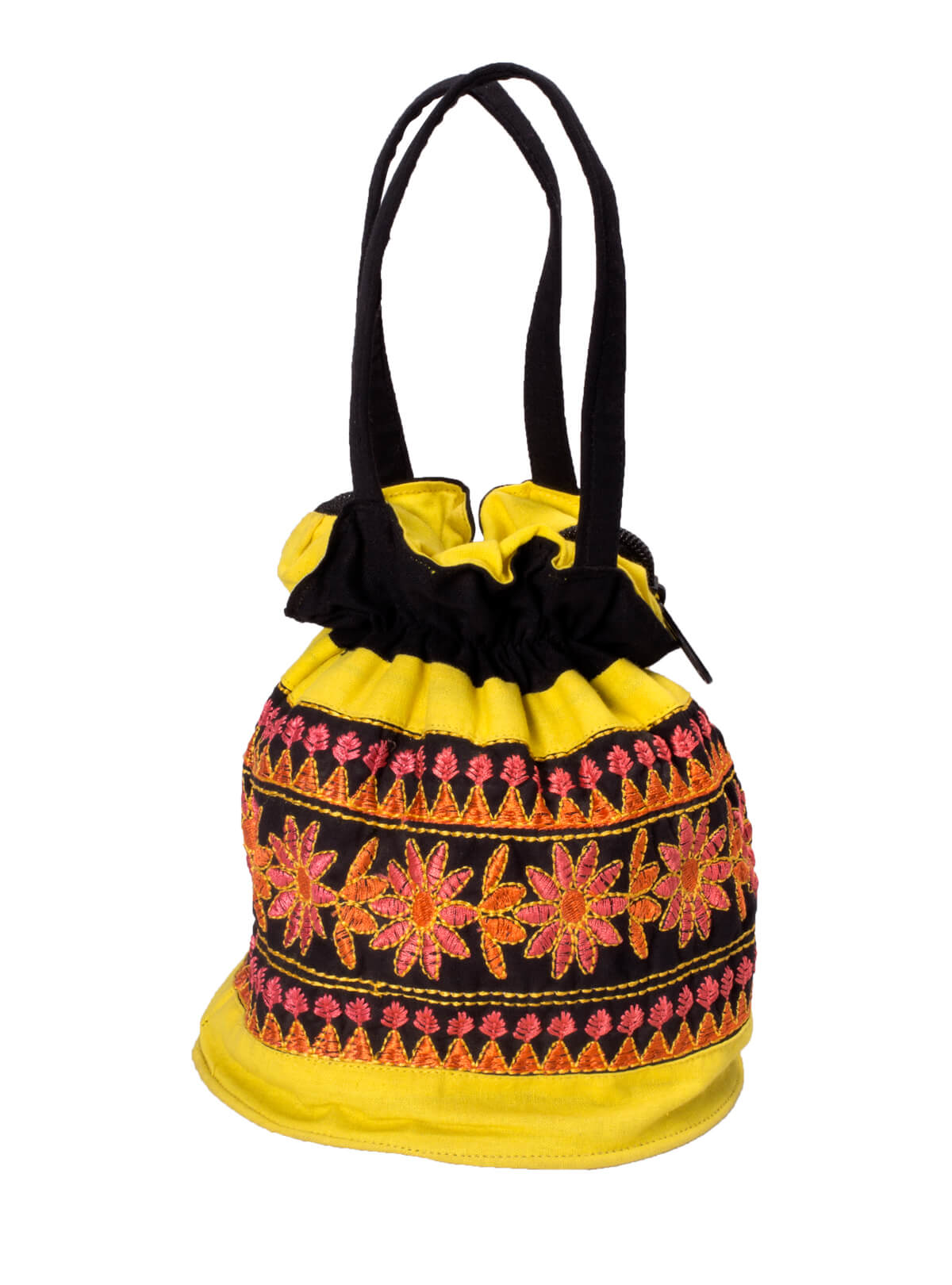 Yellow Cotton Ladies Batua Bag