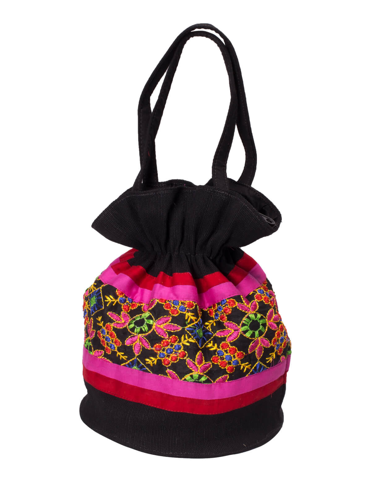 Black & Pink Cotton Ladies Batua Bag