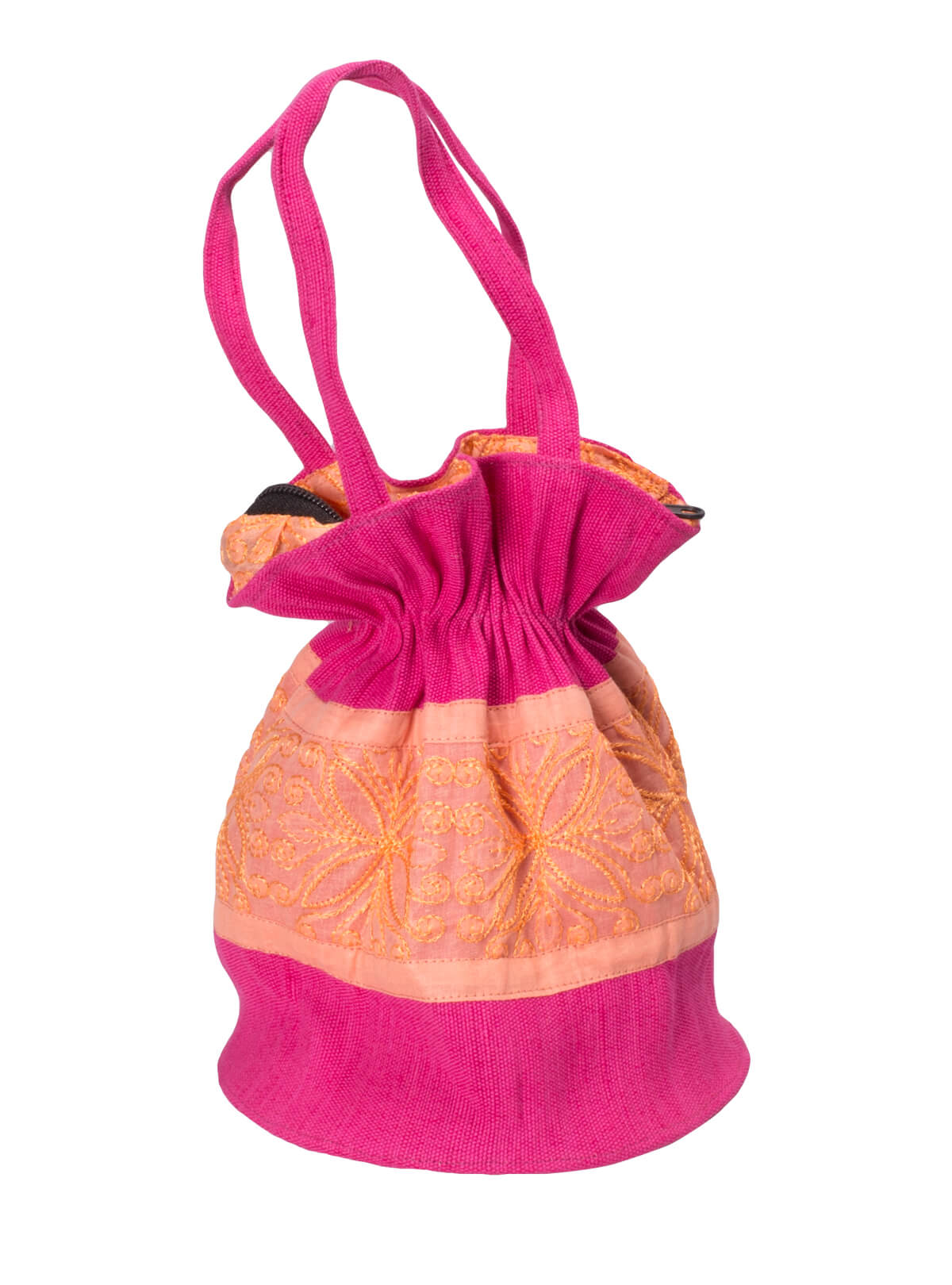 Pink Cotton Ladies Batua Bag