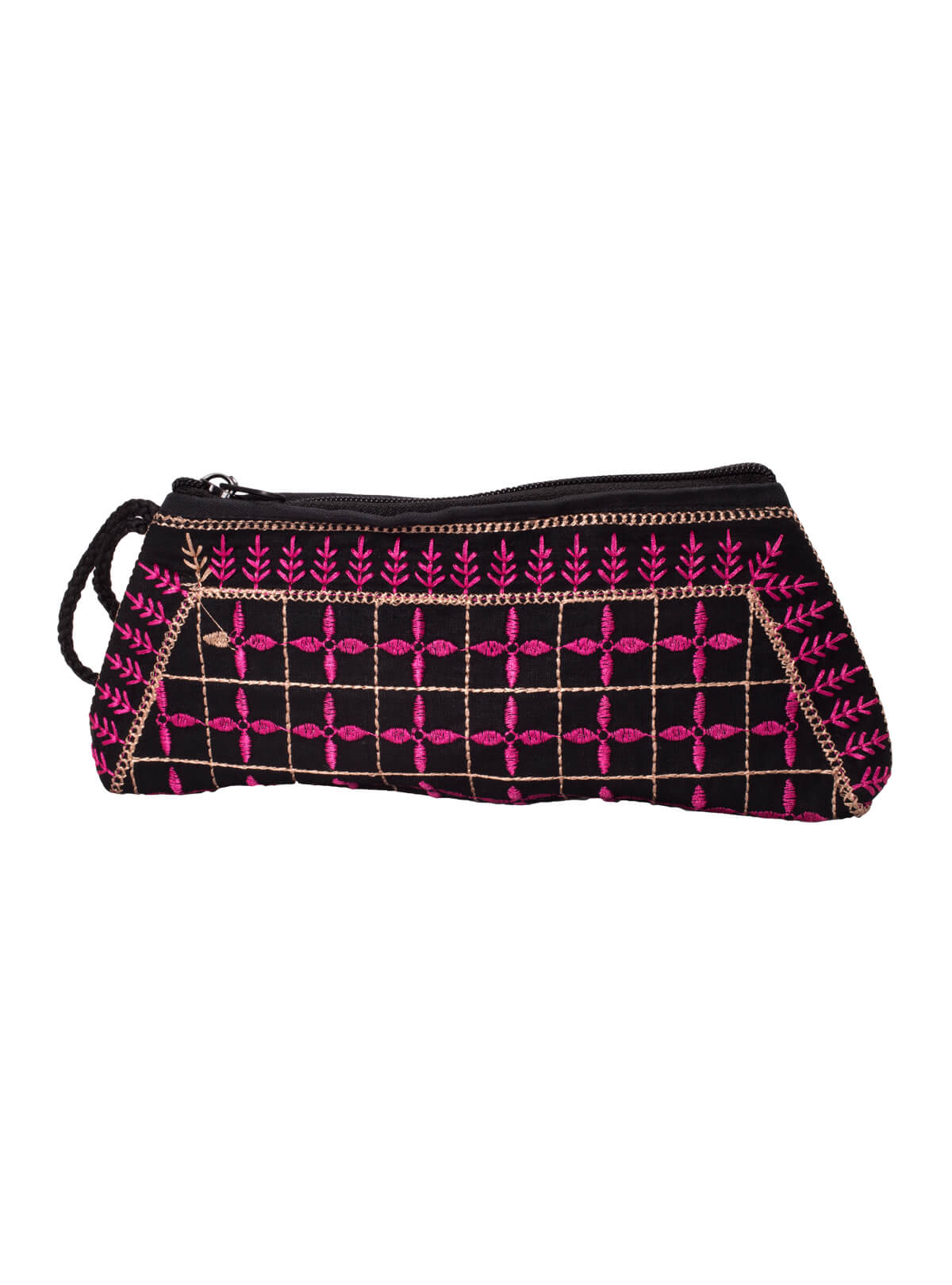 Black & Pink Cotton Pencil Bag