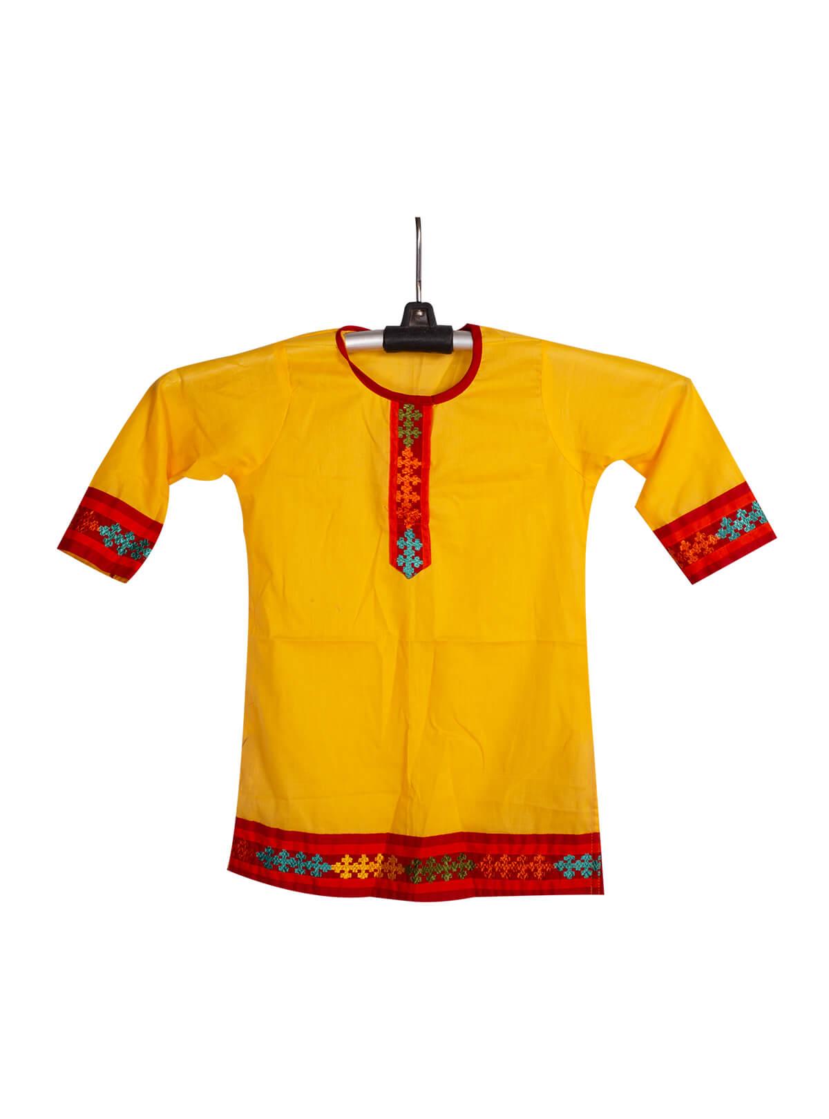 Yellow Cotton Baby Single Kameez
