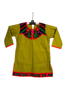 Olive Cotton Baby Single Kameez