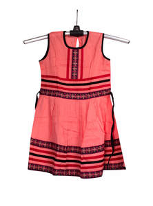 Salmon Red Cotton Baby Frock