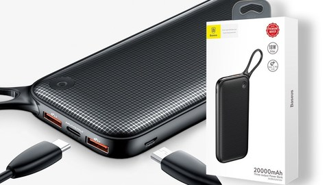 Baseus Powerful Portable QC 3.0 20000mAh Power Bank - Black