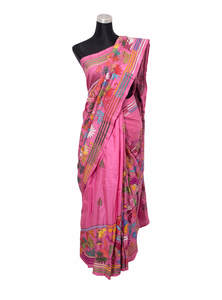 Pink Handwork Silk Saree