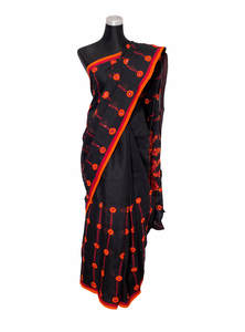 Black Handwork & Glasswork Cotton Saree