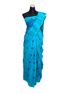 Pacific Blue Handwork & Glasswork Cotton Saree