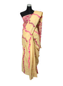 Buttermilk Yellow Handwork & Glasswork Cotton Saree