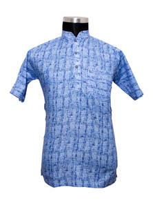 Blue Handwork Cotton Gents Fotua