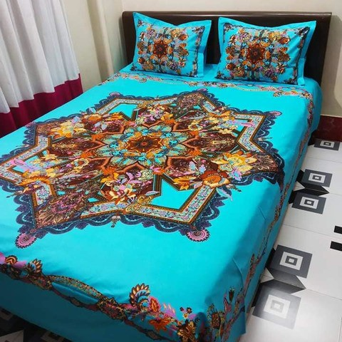 Ortha King Size Panel Bedsheet Set - 3 Pecs
