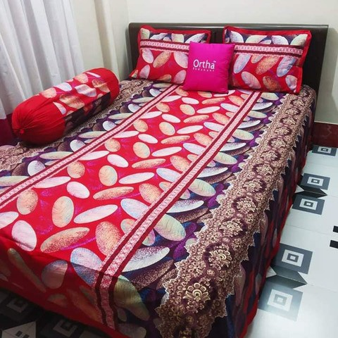4 pcs king size bedsheet set - Elegant - Red & Coffee