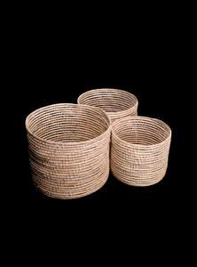 Palm Fiber Round Cylinder Basket