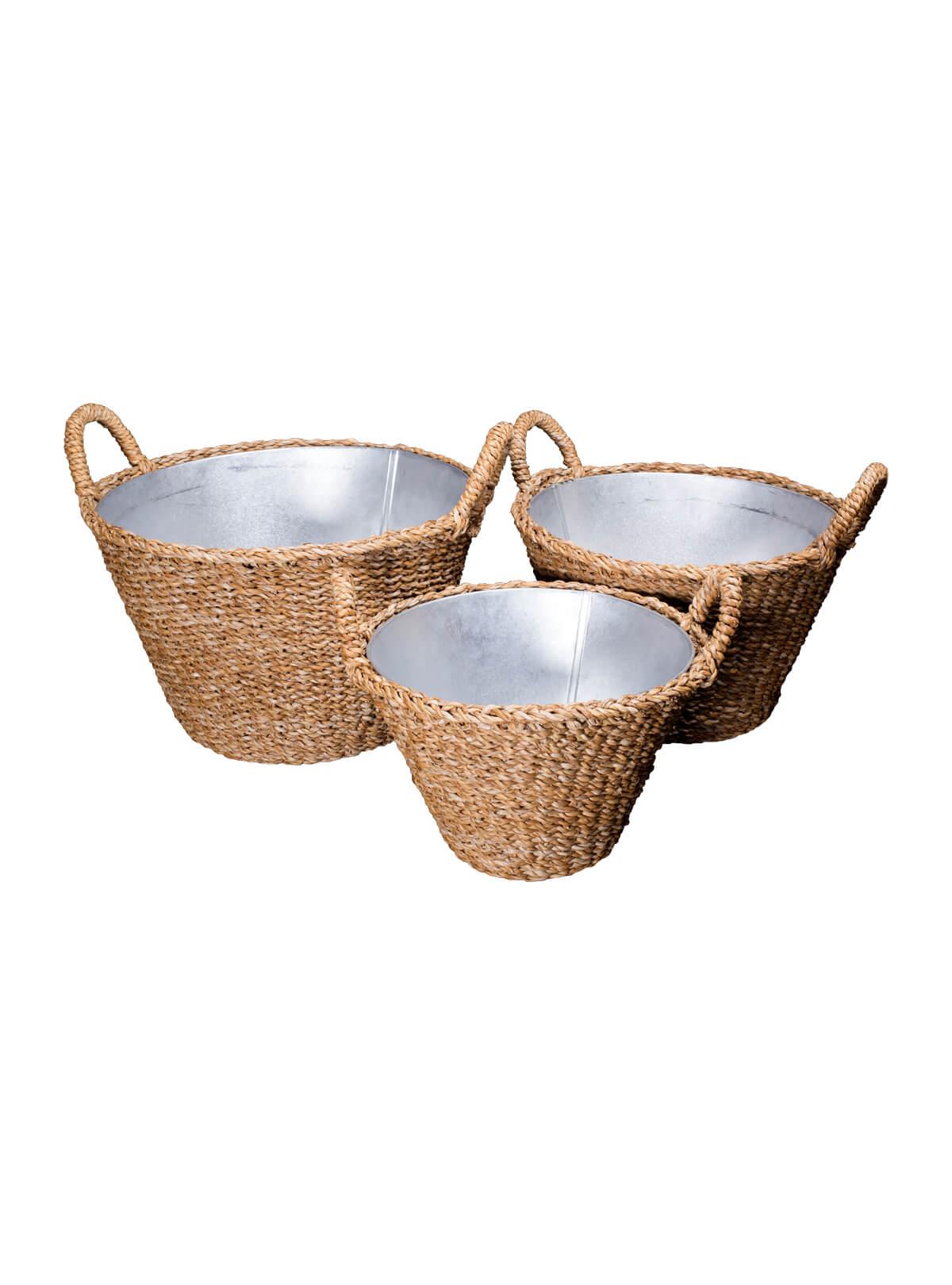 Sea Grass Tin Basket