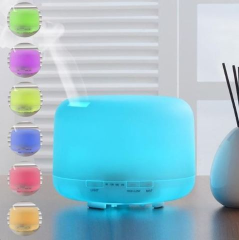 500ml Aroma Essential Oil Diffuser Ultrasonic Air Humidifier 7 Colors Changing LED Light Auto Power Off DC24V
