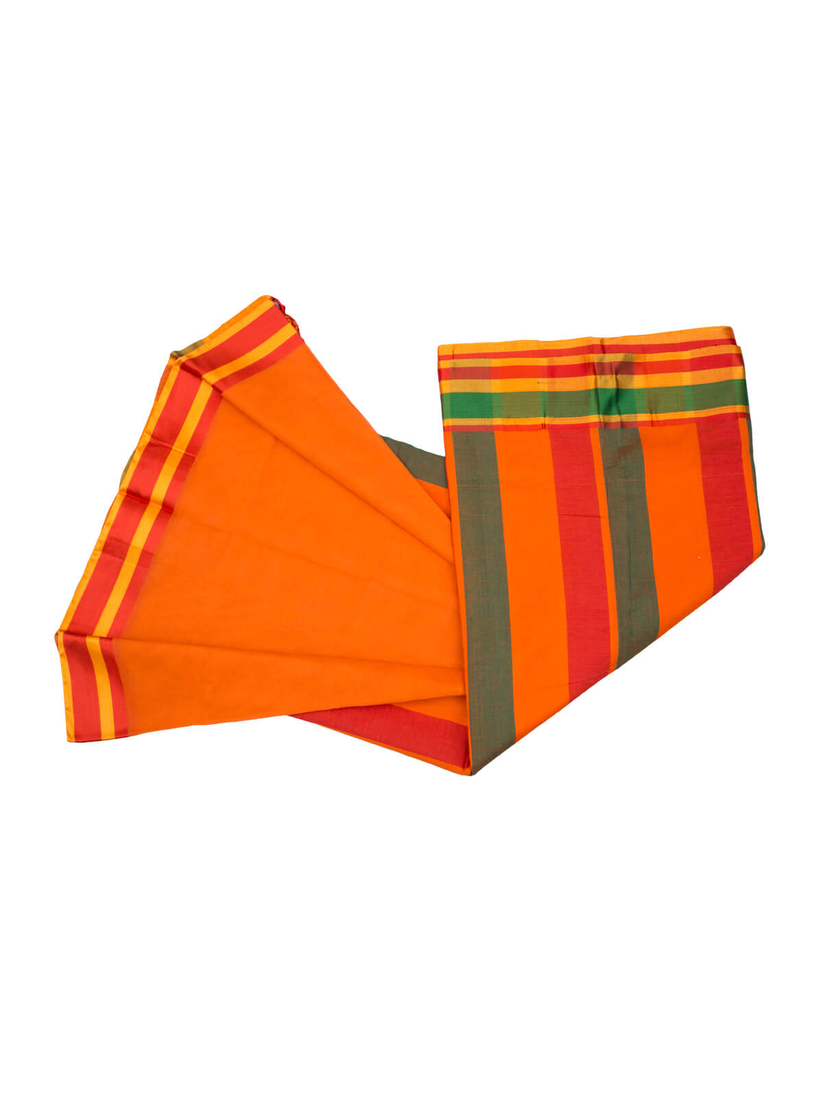 Gold Orange, Persian Red & Green Banar Cotton Saree