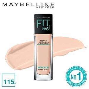 Maybelline Fit Me Matte + Poreless Liquid Foundation Makeup, Ivory-115 1 fl. oz. Oil-Free Foundation