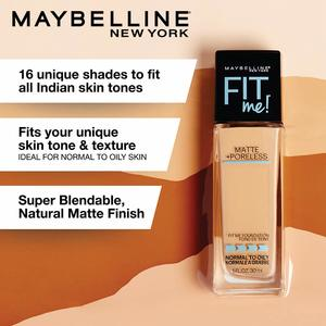 Maybelline Fit Me Matte + Poreless Liquid Foundation Makeup, Warm Nude, 1 fl. oz. Oil-Free Foundation