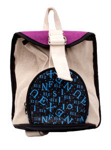 Black, White, Purple Jute Backpack