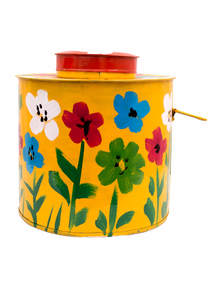Yellow Painted Metal Pot