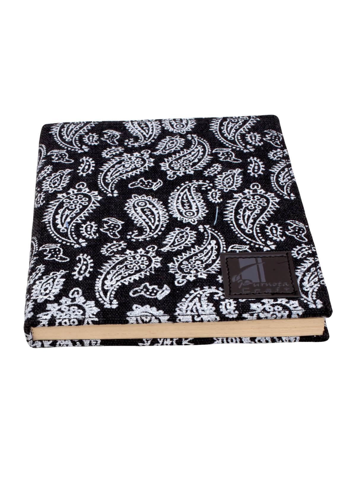 Black White Jute Paper Diary