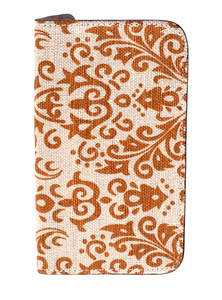 Golden White Jute Leather Mobile Cover