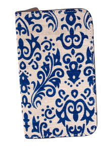Blue White Jute Leather Mobile Cover