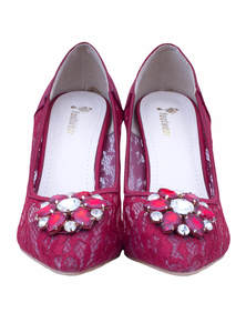 Maroon Pencil Heel Ladies Shoe With Stonework