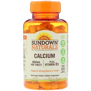 Sundown Naturals, Calcium, Plus Vitamin D3, 600 mg, 120 Coated Tablets