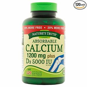 Nature's Truth Absorbable Calcium 1200 mg plus D3 5000 IU, 120 Softgels