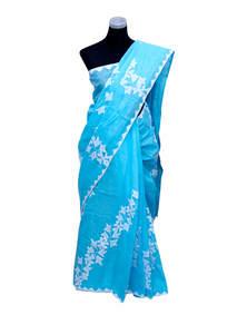 Sky Blue Cotton Saree