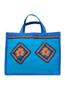 Sky Blue Jute Carrier Bag