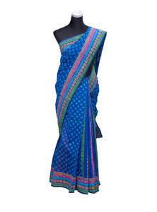 Cobalt Blue Half Silk Saree