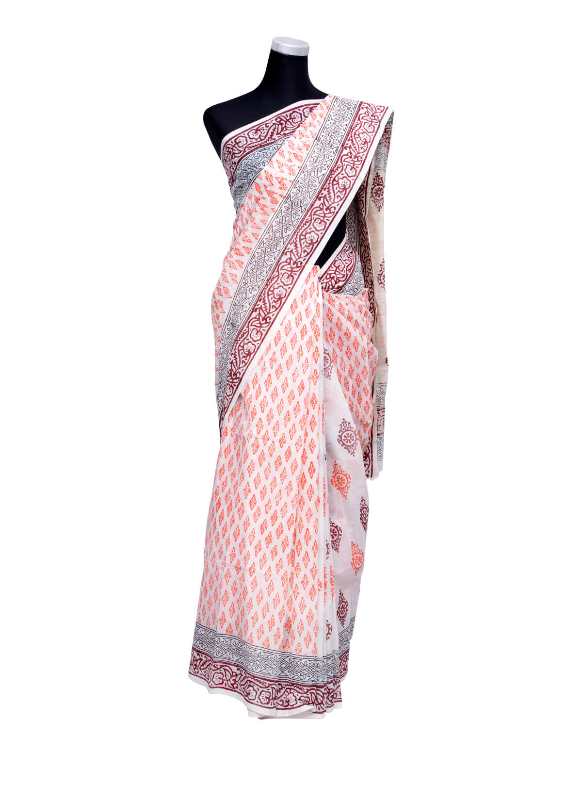 White Handloom Cotton Saree